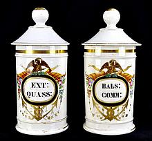 PAIR of 19th C. Paris Porcelain Apothecary Jars