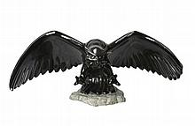 2005 Rick Rowley Black Granite Owl Statue