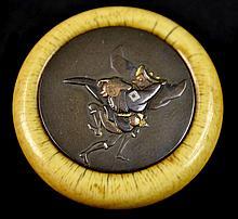 RARE Japanese Ivory & Bronze Kagamibuta, Meiji