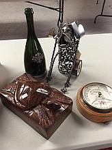 Vtg. Barometer, Metal Wine Stand & China Tea Set