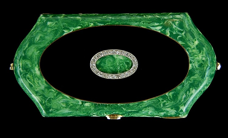 14k Jade, Black Onyx & Diamond Art Deco Compact