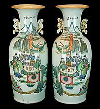 Tall Hand-Painted Chinese Pottery Vase PAIR