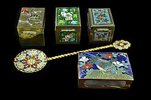 Asian Cloisonne Stamp/Match Box, Spoon Lot