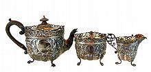 English Sterling Silver Repousse Tea Set c. 1901