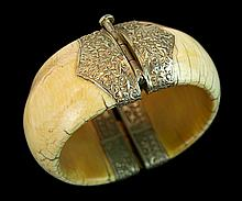 Old African Ivory Silver Hinged Bracelet