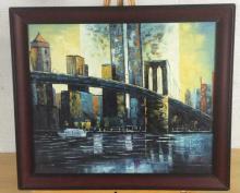 Signed Brooklyn Bridge Oil Painting