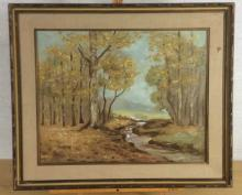 Sherman Monahan Forest River Oil Painting