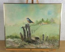 J.E. Blue Bird on Post Oil on Canvas