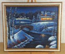 Snowy Village Acrylic on Canvas