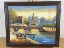 Tom L. Paris River Side Oil on Canvas