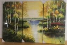Signed Tryptic Autumn Lake Acrylic on Canvas