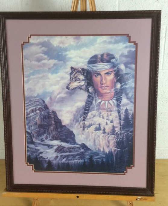 Jonnie K Kostoff Native Male With Wolf Print