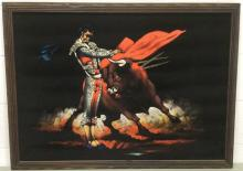 Signed, Matador Fighting, Mixed Media on Velvet