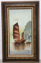 P. Wong, Sailboat in the Water Oil on Canvas