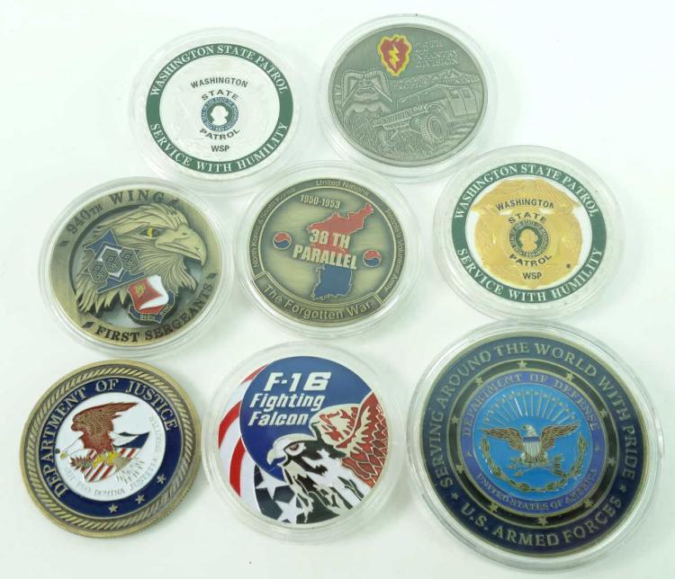 8pc. Commemorative Military Coin Lot