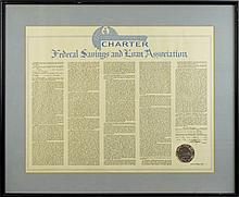 Vintage Framed Federal Savings & Loan Charter