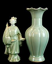 PAIR Asian Celadon Porcelain