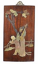 Chinese Inlaid Stone Wooden Plaque