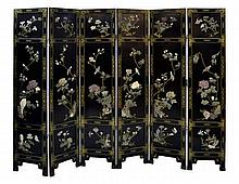 6-Panel Asian Dressing Screen, Applied Floral