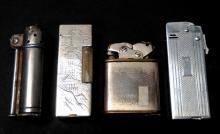 4Pc Lighters, Dunhill, 950 Silver & (2) Thorens