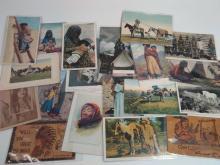 60Pc Vintage Native American Postcards