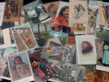 64Pc Vintage Native American Postcards