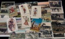 114Pc Vintage Western & Rodeo Postcards