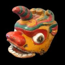 Antique Asian Carved & Painted Dragon Mask
