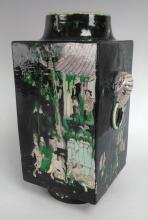 Signed Japanese Pottery Vase, Elephant Handles