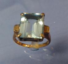 10K Gold Aquamarine Ring Sz 6.5