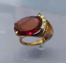 10K Gold Cocktail Ring, Ruby & Quartz Sz 6