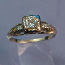 14K Gold Diamond Ring, Topaz Sz 5.5