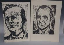 Pair of Face Block Prints