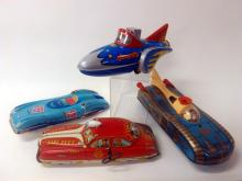 4pcs. Tin Lithograph Friction & Battery Op Toys