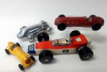 4Pcs. Vintage Toy Race Cars, Auburn, Hubley Kiddie