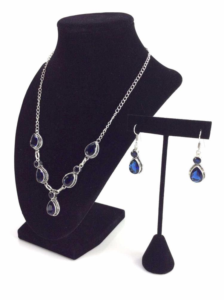 Kashmir Blue Sapphire Necklace & Earring Set