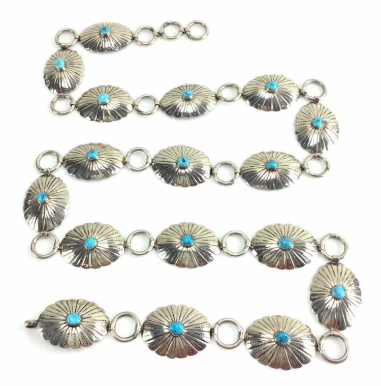 Signed Nickel Silver & Turquoise Concho Belt