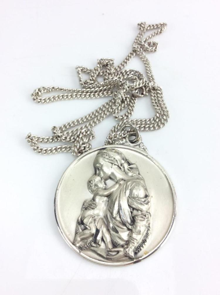 Sterling Silver Mary & Jesus Pendant w/ Chain