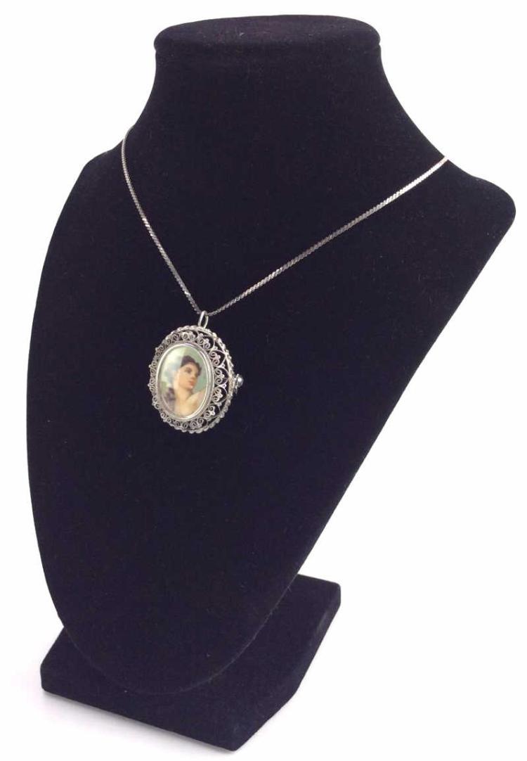 800 Silver Filigree Cameo Portrait Brooch w/ Chain