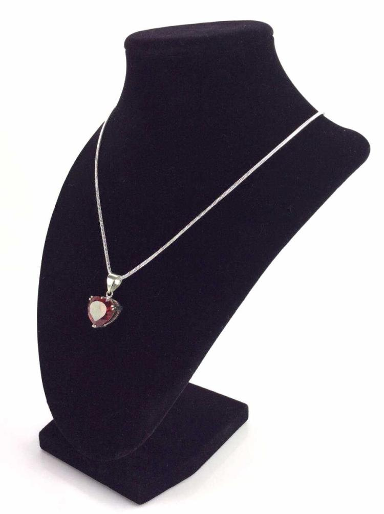 Electric Red Topaz Heart Pendant & Sterling Chain