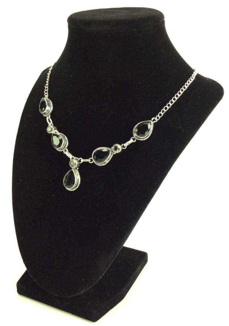 Silky Black Onyx & Topaz Necklace