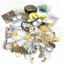 Assorted Costume Jewelry & Pill Boxes