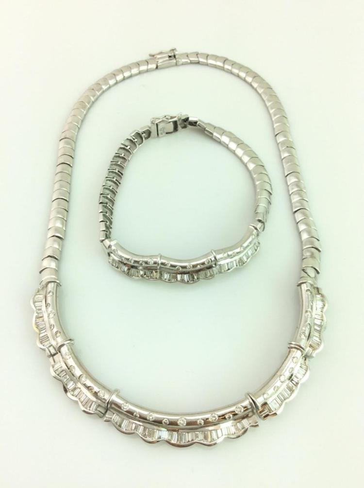 18K Gold Diamond Necklace & Bracelet Set