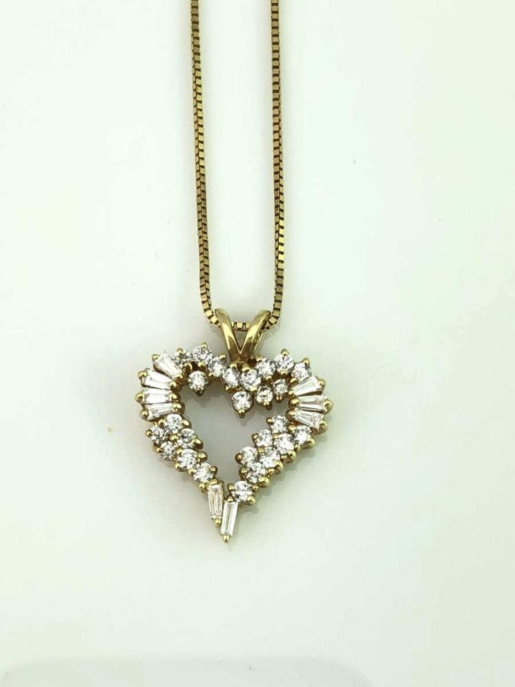 14K Gold Diamond Heart Pendant & Necklace