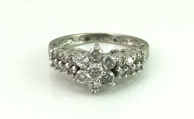 Platinum Diamond Flower Statement Ring