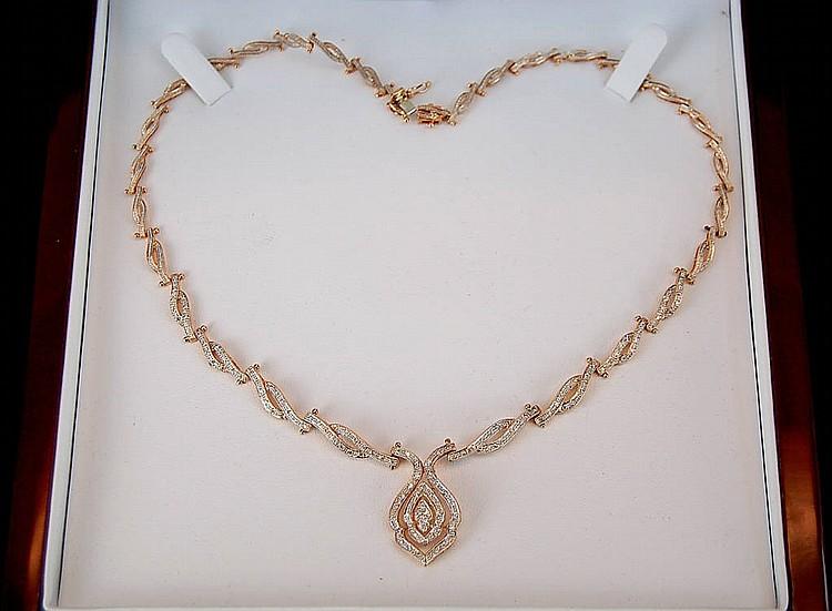 An Estate Diamond & 14k Gold Necklace