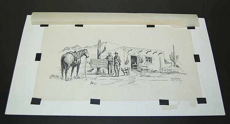 Larry Toschik (American, 1922) Original Illustration Pencil Sketch