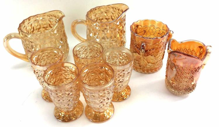 9Pc. Assorted Marigold Carnival Glass
