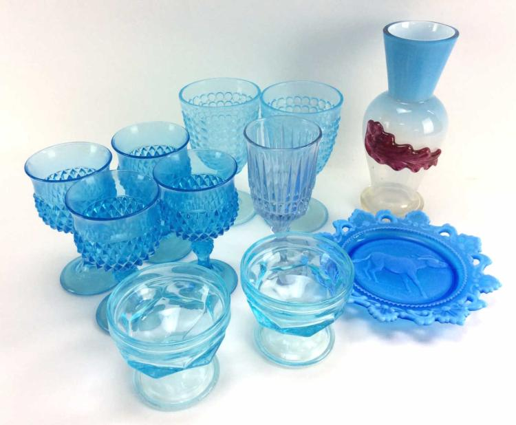 11Pc. Assorted Blue Carnival Glass