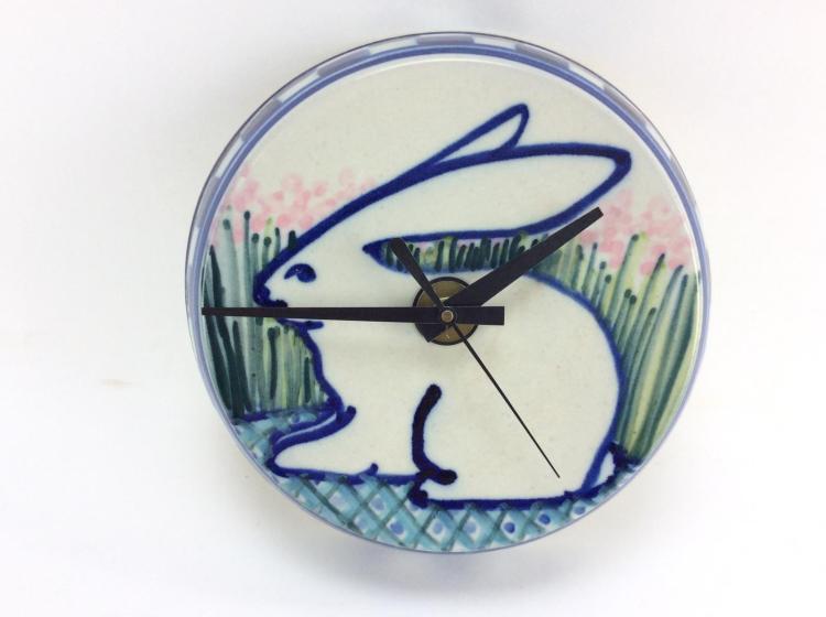 Bunny Stoneware Pottery Clock